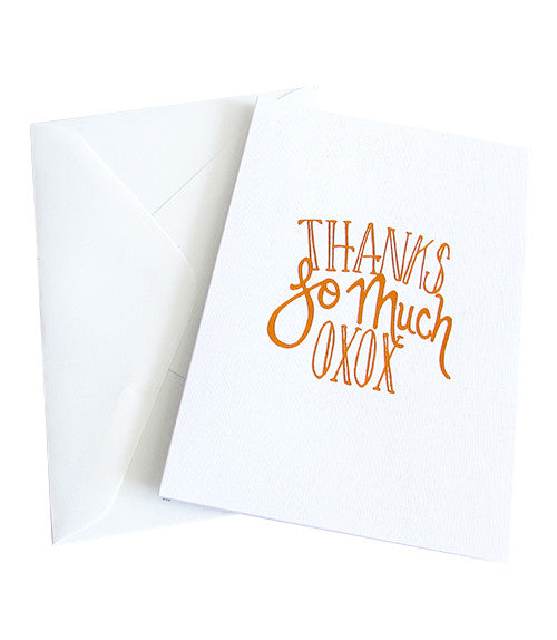 THANKS SO MUCH OXOX COPPER FOILED CARD -  White Linen