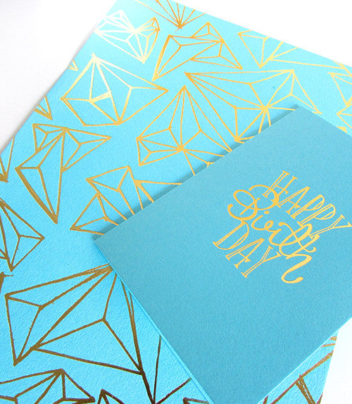 GOLD FOIL GEOMETRIC PRINT - Turquoise Card