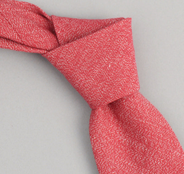 red chambray square-end tie