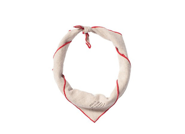 Natural/Red Washed Linen Bandana