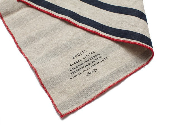 Navy Striped Linen Pocket Square