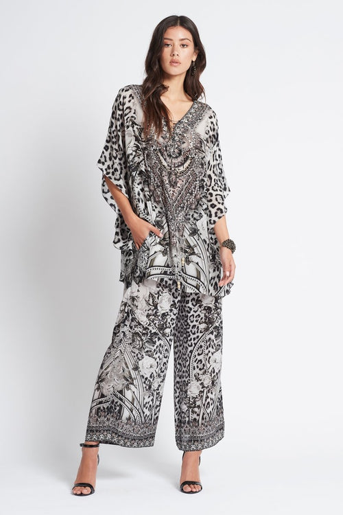 Tropical Love Round-Neck Long Kaftan