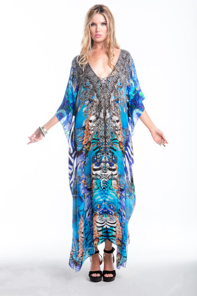 INDECENT BLUE LONG KAFTAN