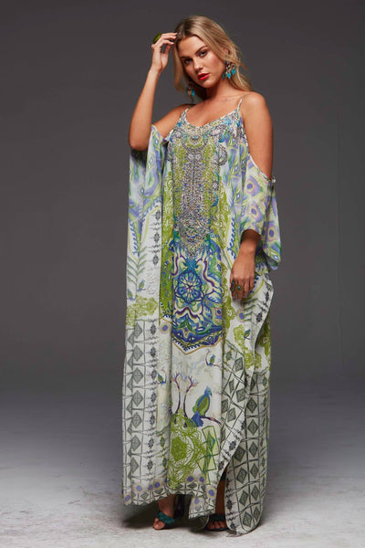 BIRDS OF PEACE COLD-SHOULDER LONG KAFTAN
