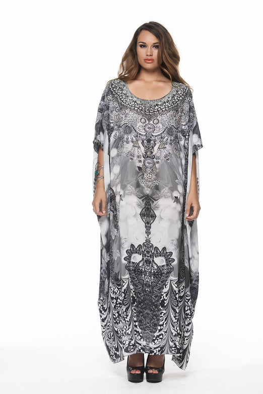 TETON ROUND NECK LONG KAFTAN