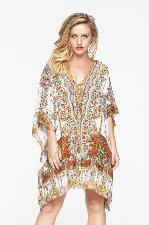 WHITE VINTAGE KAFTAN TOP