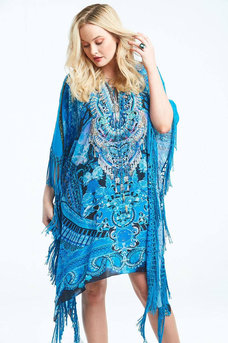 UNFORGETTABLE DREAM SHORT KAFTAN W FRINGE