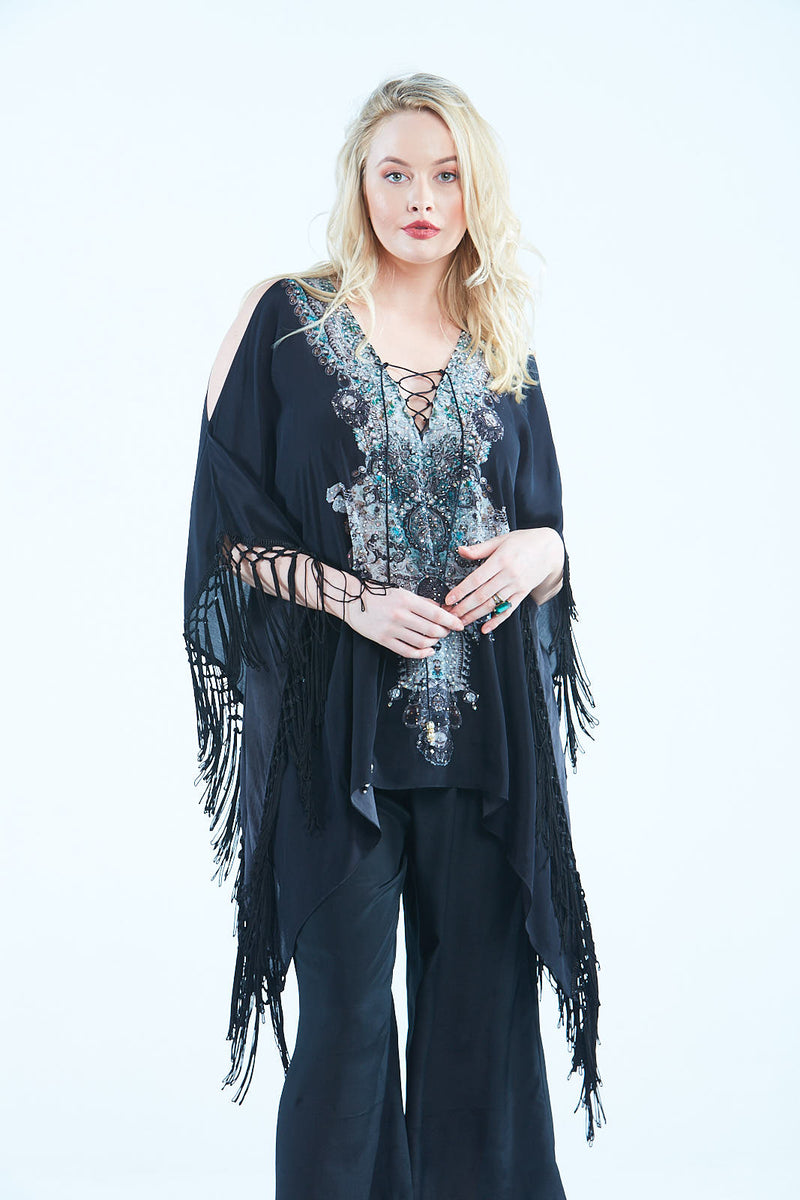 ALICE KAFTAN TOP W FRINGE