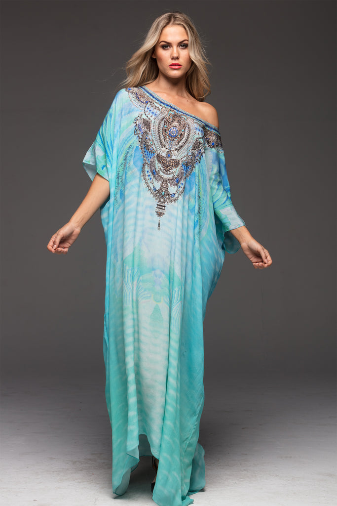 FEEL THE BREEZE ROUND-NECK LONG KAFTAN