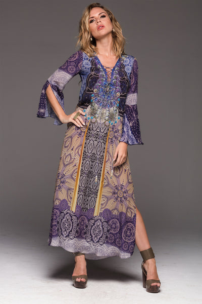 GOLDEN TEMPLE MAXI-DRESS W SLEEVES