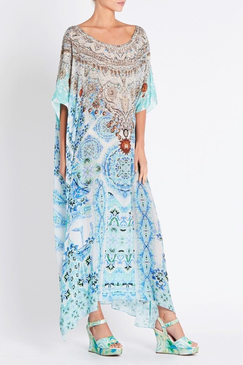 SHE'S A WILDFLOWER ROUND-NECK LONG KAFTAN