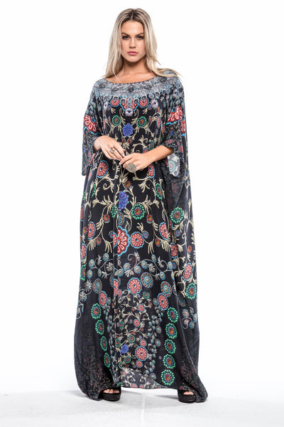 MILLEFORI ROUND-NECK LONG KAFTAN