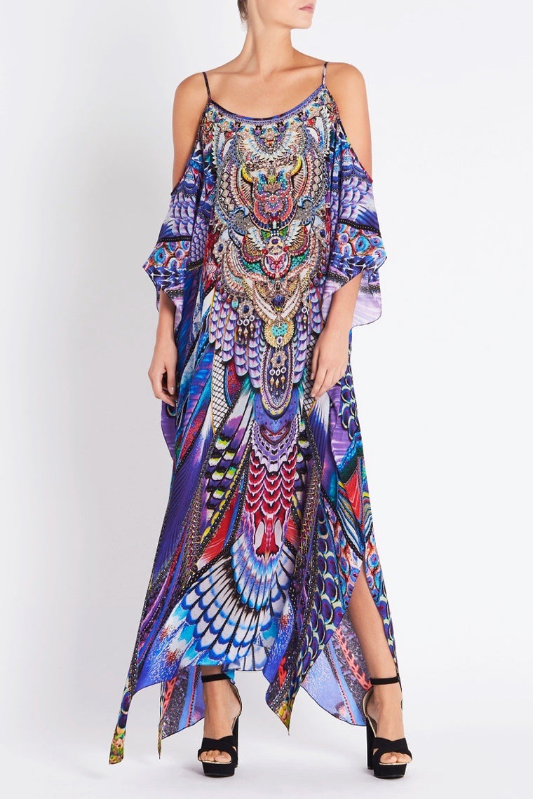 f06a18169d3 FLY WITHOUT FEATHERS COLD SHOULDER LONG KAFTAN