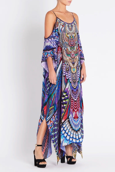 FLY WITHOUT FEATHERS COLD SHOULDER LONG KAFTAN