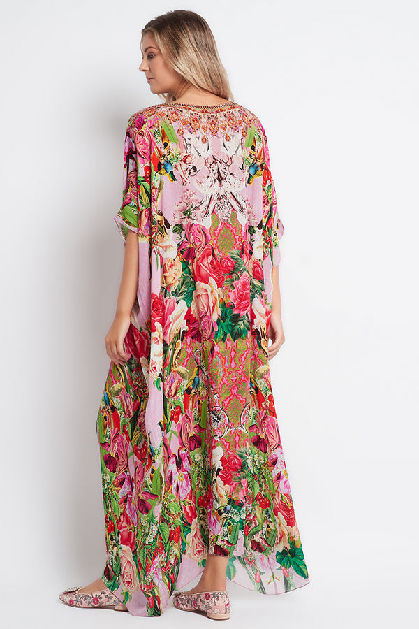 Every Flower Blossoms Round-Neck Long Kaftan