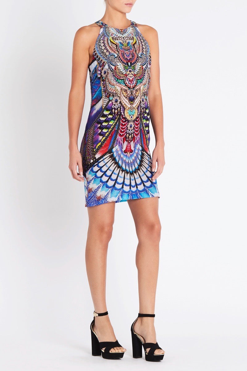 FLY WITHOUT FEATHERS ROUND NECK SHORT DRESS