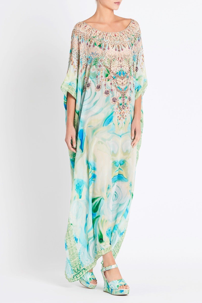 GARDEN OF EDEN ROUND-NECK LONG KAFTAN