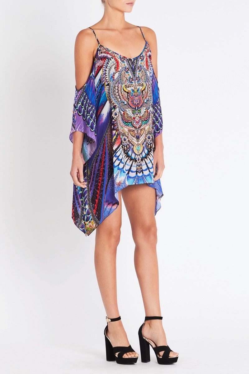 FLY WITHOUT FEATHERS COLD-SHOULDER KAFTAN TOP