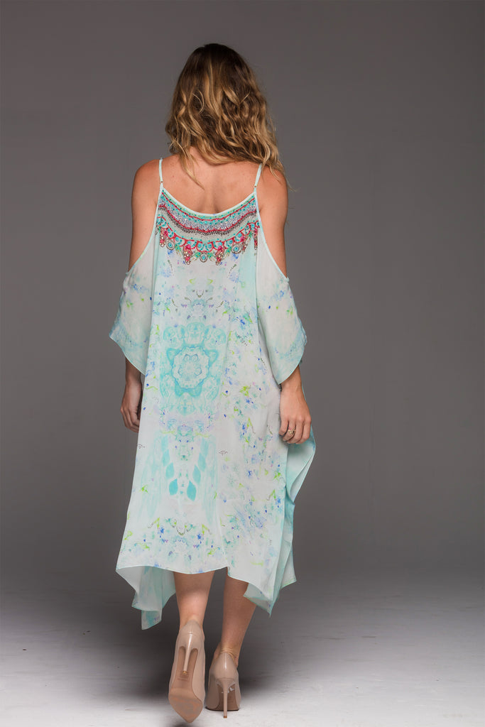 SUMMER DREAM COLD-SHOULDER SHORT KAFTAN