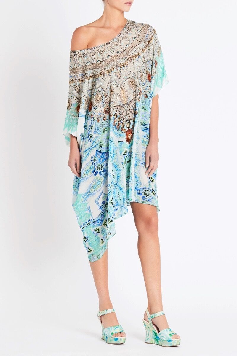 SHE'S A WILDFLOWER ROUND-NECK SHORT KAFTAN