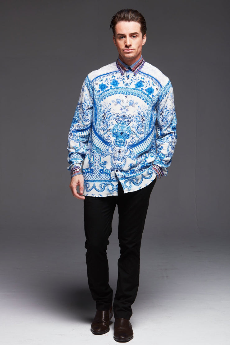 A Day In Greece Silk Men'S Shirt - Czarina