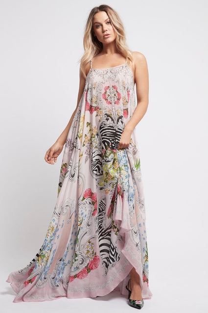 A LADY IN PINK SHOE-STRING MAXI DRESS - Czarina