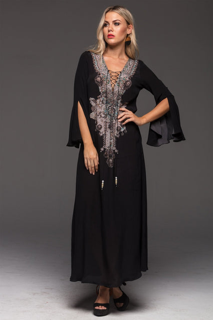 ALICE MAXI DRESS W SLEEVES - Czarina