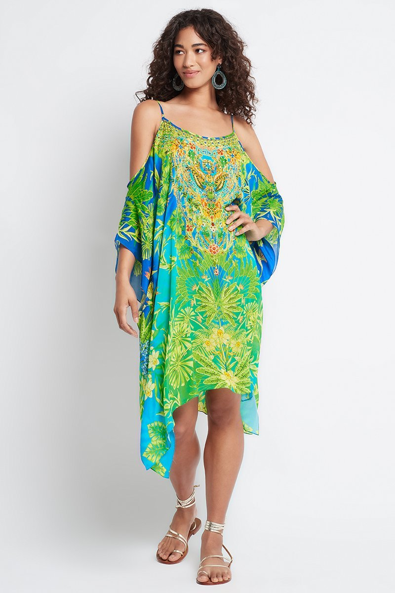 BETWEEN THE RAINDROPS COLD-SHOULDER SHORT KAFTAN - Czarina