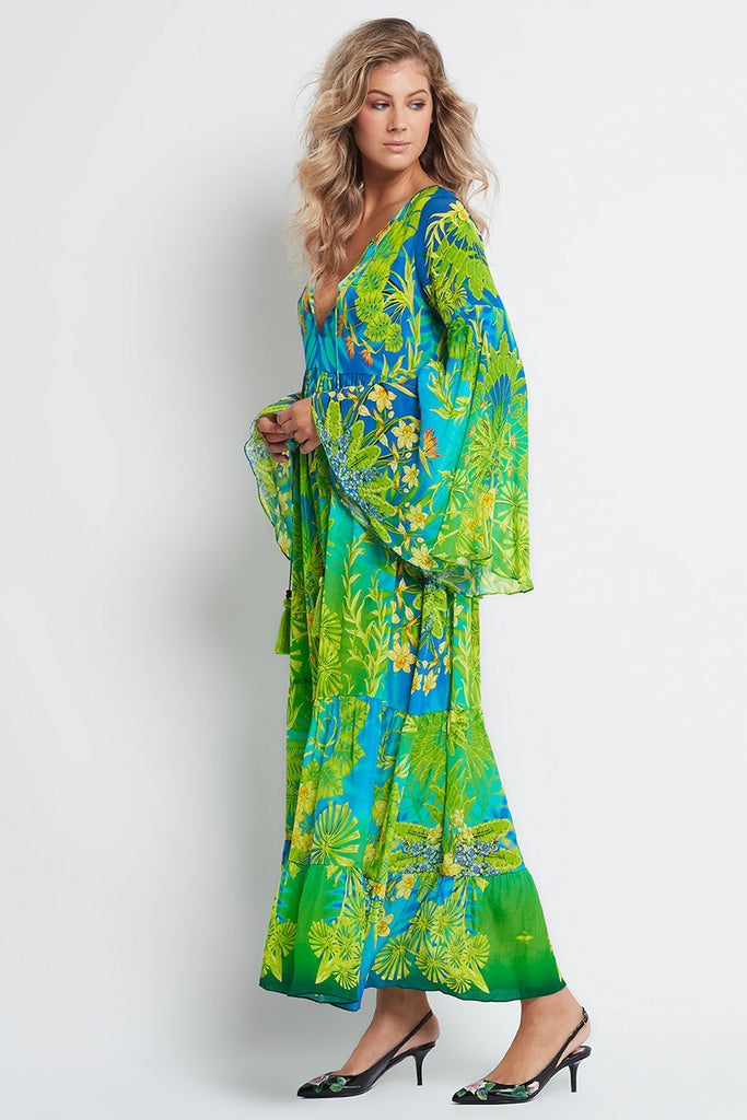 BETWEEN THE RAINDROPS MAXI DRESS WITH BELL SLEEVES - Czarina