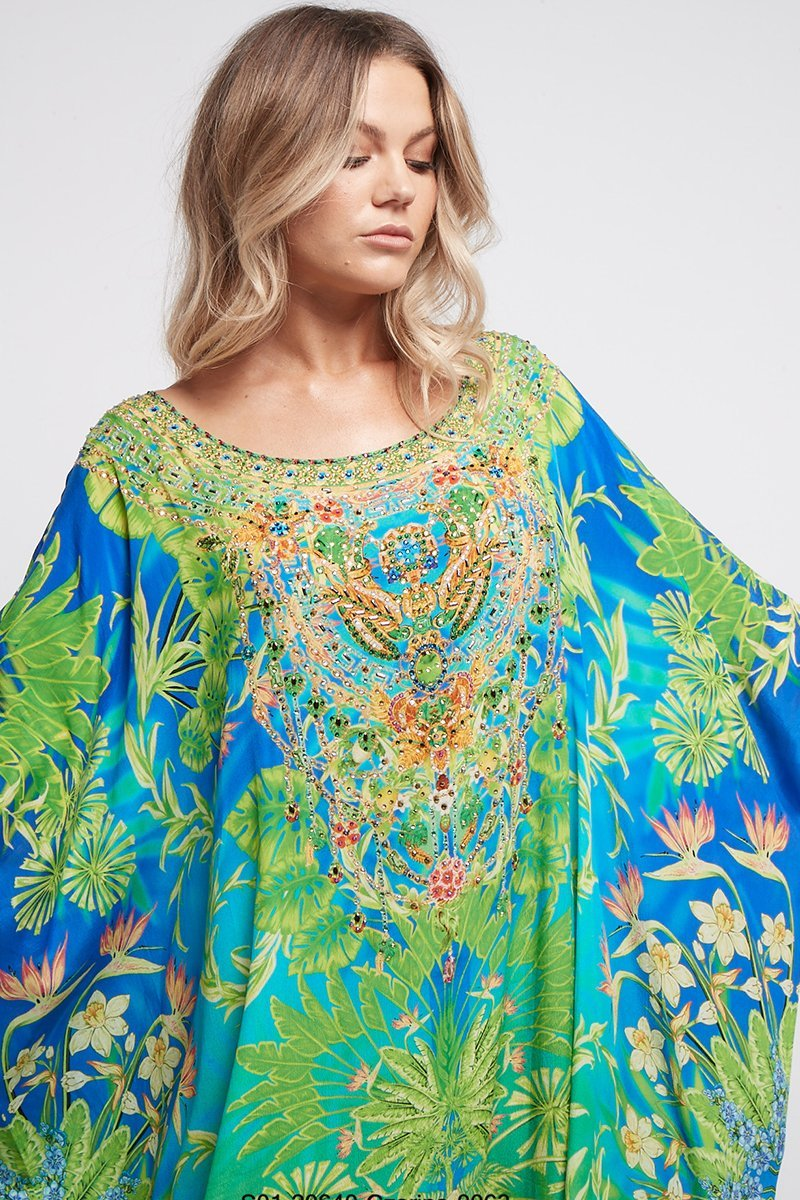 BETWEEN THE RAINDROPS ROUND-NECK LONG KAFTAN - Czarina