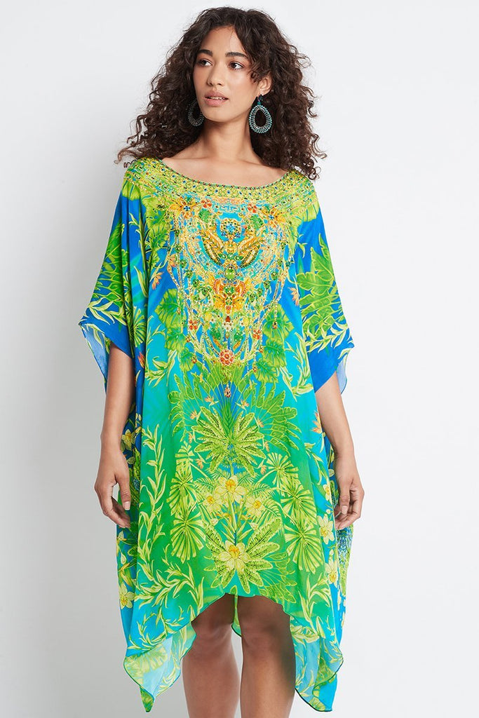 BETWEEN THE RAINDROPS ROUND-NECK SHORT KAFTAN - Czarina
