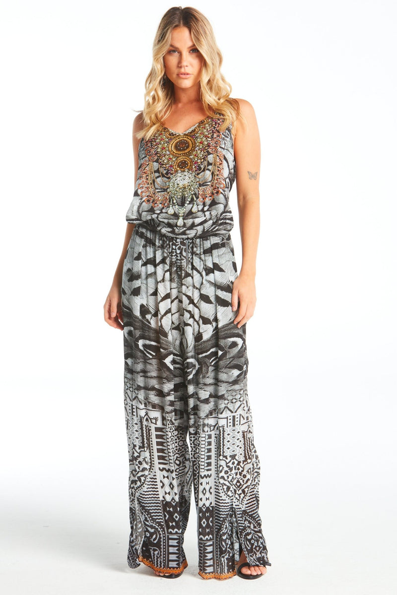 BLACK FEATHERS JUMPSUIT - Czarina