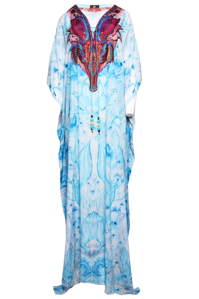 BLUE DOVES LONG KAFTAN - Czarina