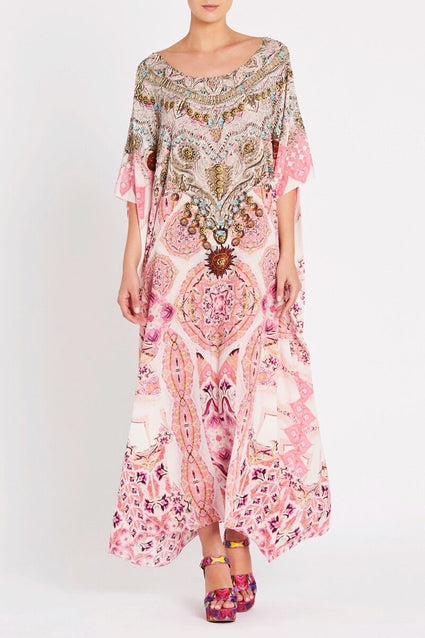 BOHEMIAN BLUSH ROUND-NECK LONG KAFTAN - Czarina