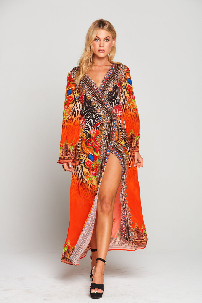 SUNSET IN SAVANNAH WRAP DRESS