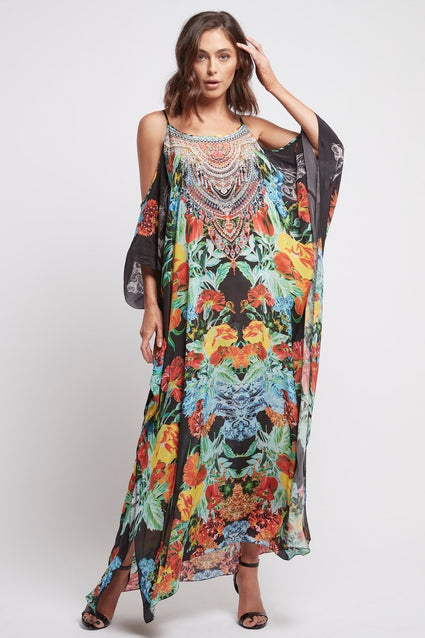 CUBAN NIGHTS COLD-SHOULDER LONG KAFTAN - Czarina
