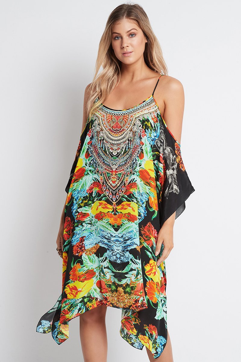 CUBAN NIGHTS COLD-SHOULDER SHORT KAFTAN - Czarina