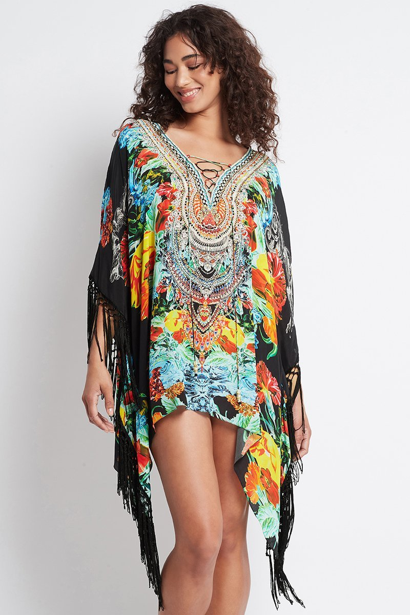 CUBAN NIGHTS KAFTAN TOP W FRINGE - Czarina
