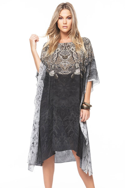 DARK CHEROKEE ROUND-NECK SHORT KAFTAN