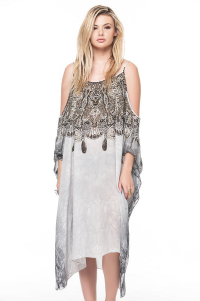 WHITE CHEROKEE COLD-SHOULDER SHORT KAFTAN