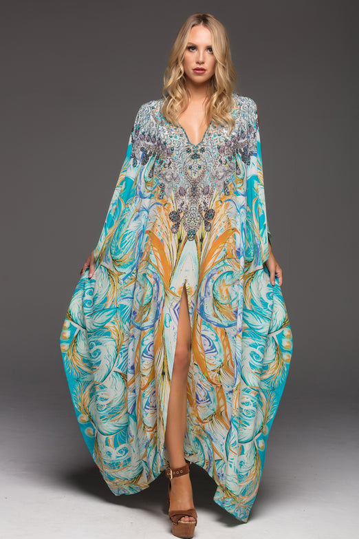 MOSAIC BIG WIDTH KAFTAN W FRONT SPLIT AND SHOULDER SLIT