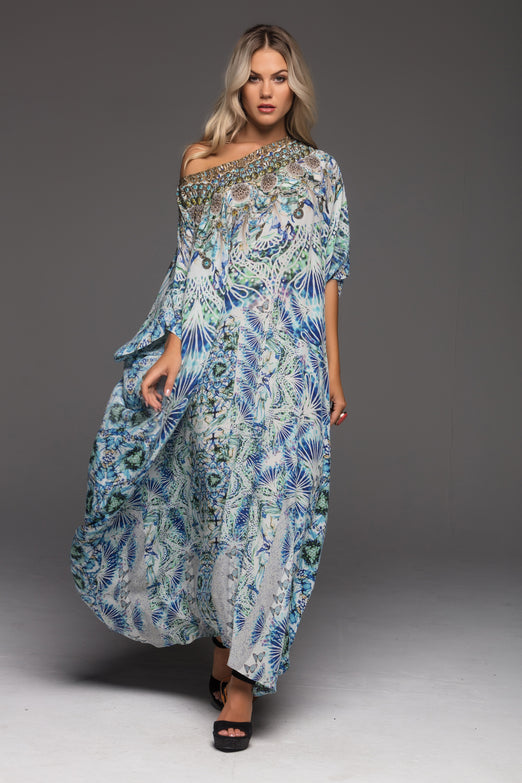 LET'S GET LOST ROUND-NECK LONG KAFTAN