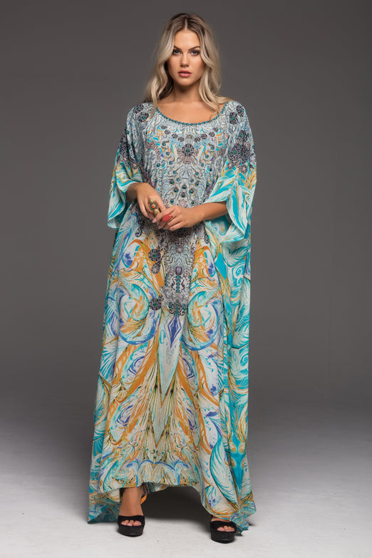 MOSAIC ROUND-NECK LONG KAFTAN