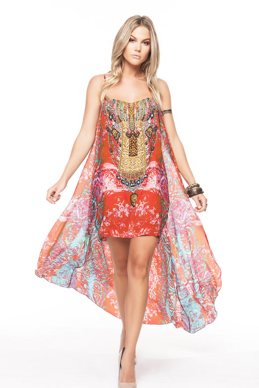 MANDALA SHORT DRESS W CAPE
