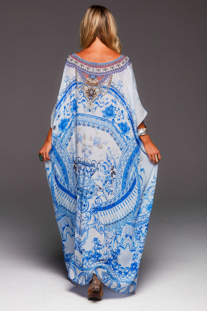 A DAY IN GREECE ROUND-NECK LONG KAFTAN