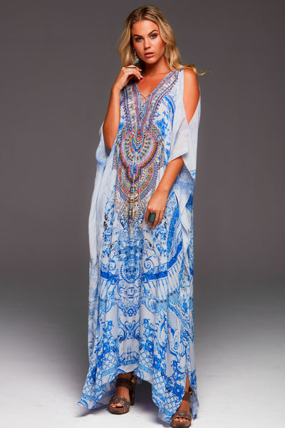 A DAY IN GREECE LONG KAFTAN W SLIT