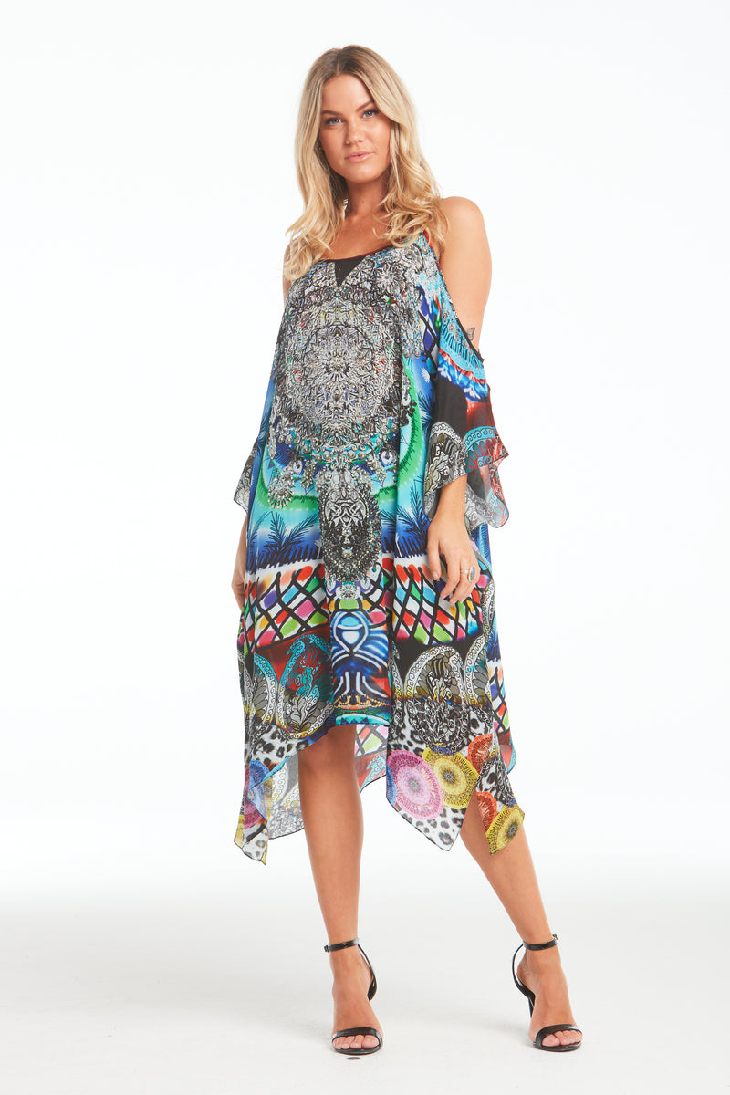 CIRCLE OF LIFE COLD-SHOULDER SHORT KAFTAN