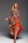 SUNSET IN SAVANNAH ROUND-NECK LONG KAFTAN