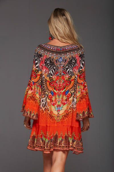 SUNSET IN SAVANNAH FRILL DRESS