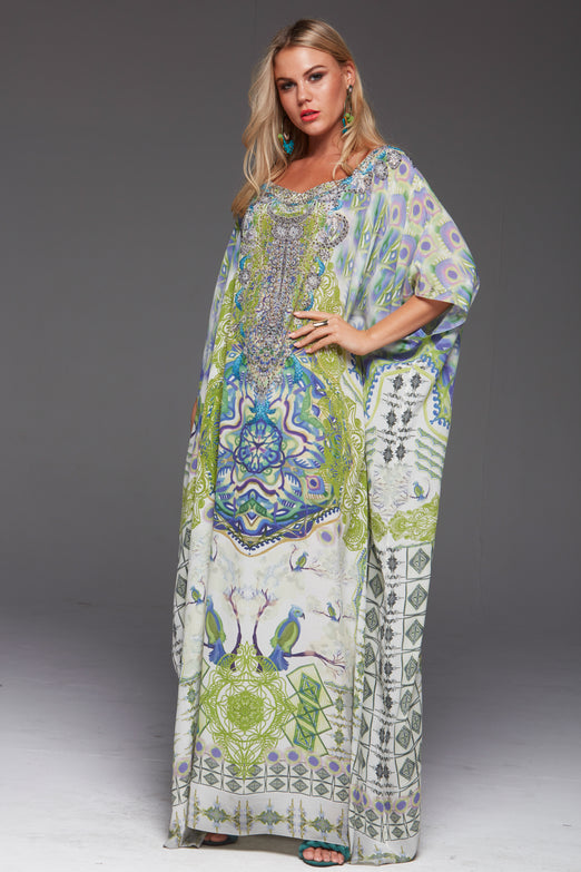 BIRDS OF PEACE ROUND-NECK LONG KAFTAN